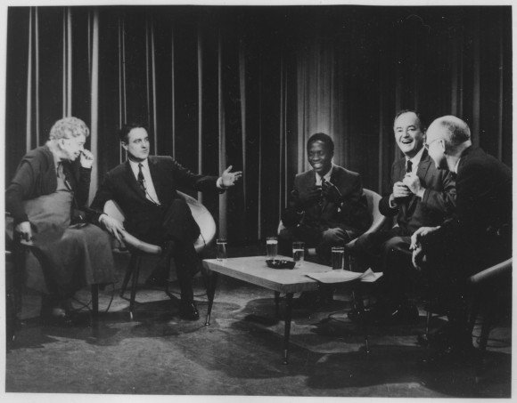 Eleanor_Roosevelt,_Sargent_Shriver,_and_Hubert_Humphrey_on_Prospects_of_Mankind_-_NARA_-_196501